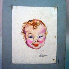 Arte: ACUARELA, DIBUJO, PINTURA, PEGADO EN CARTON, NIÑO, DIBUJO 17 X 13 CM. Lote 32341634