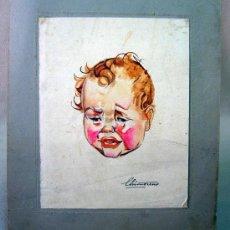 Arte: ACUARELA, DIBUJO, PINTURA, PEGADO EN CARTON, NIÑO, DIBUJO 17 X 13 CM. Lote 32341651