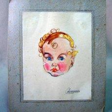 Arte: ACUARELA, DIBUJO, PINTURA, PEGADO EN CARTON, NIÑO, DIBUJO 17 X 13 CM. Lote 32341661