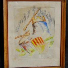 Arte: JOSE ANTONIO VILA. COMPOSICIÓN DE LA VIRGEN DE LA MORENETA. ACUARELA DE LOS AÑOS 50. Lote 32685099