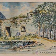 Arte: EMILI ROMÀ. ACUARELA SOBRE PAPEL DEL AÑO 1898. VISTA DE CARDÓ. Lote 32685283