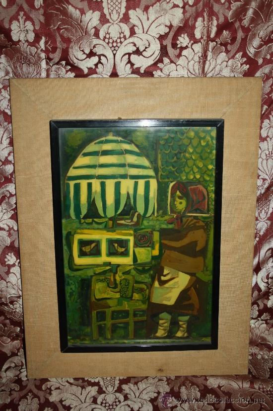 A1-016. TÉCNICA MIXTA SOBRE TABLA FIRMADA J.M. ESTELLER ALCALDE EN EL 66 REPRESENTANDO PAJARERA (Arte - Acuarelas - Contemporáneas siglo XX)