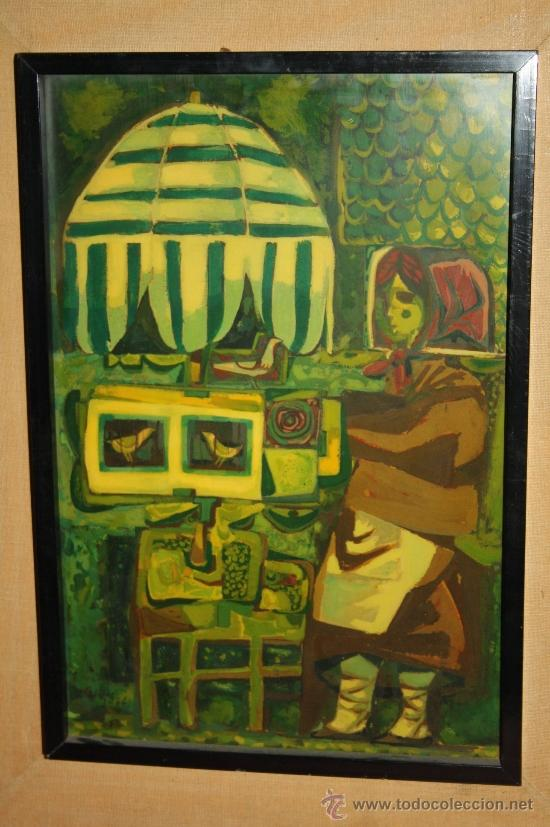 Arte: A1-016. TÉCNICA MIXTA SOBRE TABLA FIRMADA J.M. ESTELLER ALCALDE EN EL 66 REPRESENTANDO PAJARERA - Foto 2 - 32635711