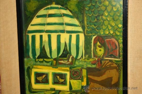 Arte: A1-016. TÉCNICA MIXTA SOBRE TABLA FIRMADA J.M. ESTELLER ALCALDE EN EL 66 REPRESENTANDO PAJARERA - Foto 3 - 32635711