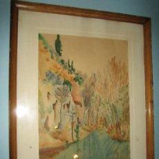 Arte: PINTURA ACUARELA PAISAJE, FIRMADA MONCUNILL ???. AÑOS 60.. Lote 32764635