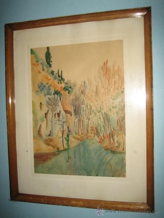 Arte: PINTURA ACUARELA PAISAJE, FIRMADA MONCUNILL ???. AÑOS 60. - Foto 2 - 32764635