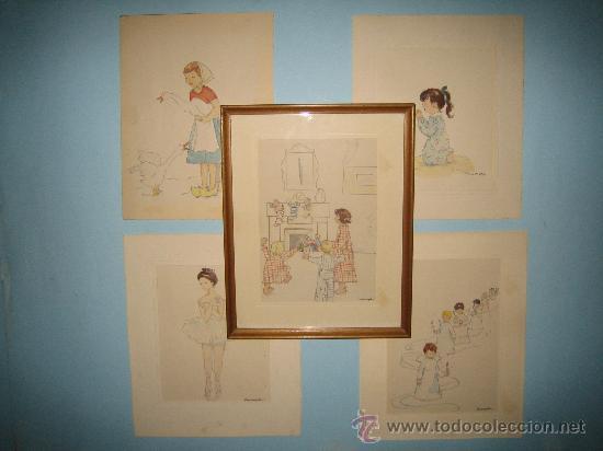 CINCO ACUARELAS INFANTILES FIRMADO MARIAANGELES, ORIGINALES, AÑOS 50-60 (Arte - Acuarelas - Contemporáneas siglo XX)