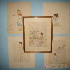 Arte: CINCO ACUARELAS INFANTILES FIRMADO MARIAANGELES, ORIGINALES, AÑOS 50-60. Lote 32830938