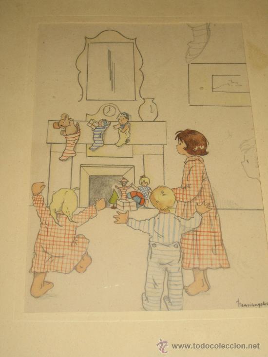Arte: CINCO ACUARELAS INFANTILES FIRMADO MARIAANGELES, ORIGINALES, AÑOS 50-60 - Foto 2 - 32830938