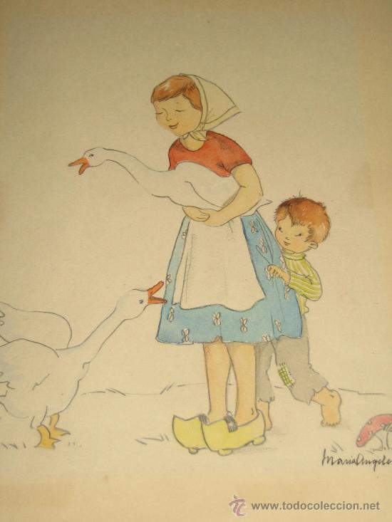 Arte: CINCO ACUARELAS INFANTILES FIRMADO MARIAANGELES, ORIGINALES, AÑOS 50-60 - Foto 3 - 32830938