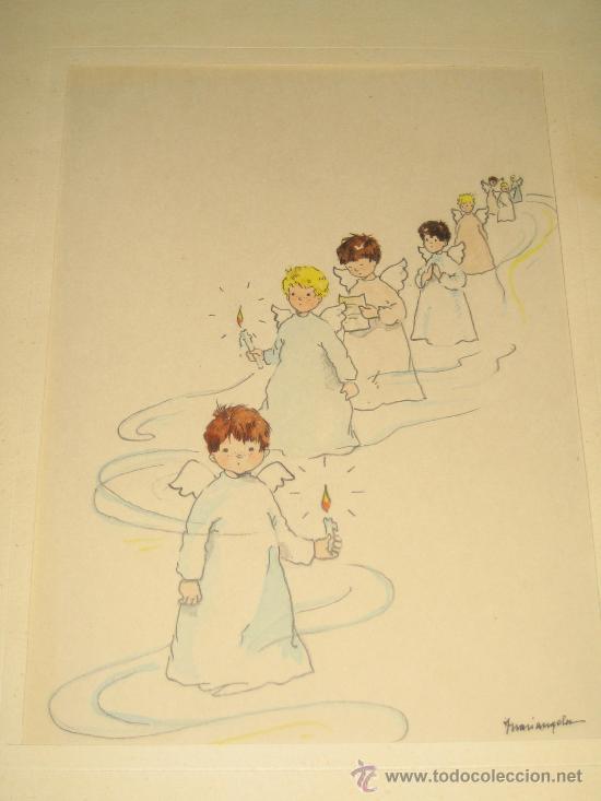 Arte: CINCO ACUARELAS INFANTILES FIRMADO MARIAANGELES, ORIGINALES, AÑOS 50-60 - Foto 4 - 32830938