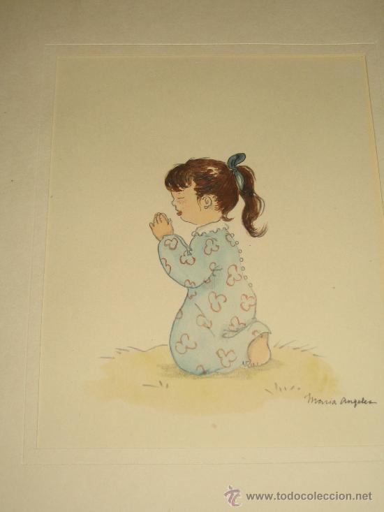 Arte: CINCO ACUARELAS INFANTILES FIRMADO MARIAANGELES, ORIGINALES, AÑOS 50-60 - Foto 5 - 32830938
