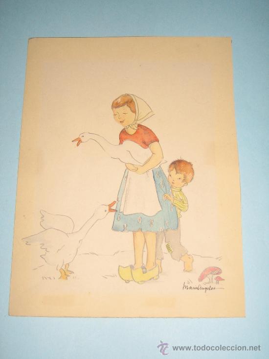 Arte: CINCO ACUARELAS INFANTILES FIRMADO MARIAANGELES, ORIGINALES, AÑOS 50-60 - Foto 18 - 32830938