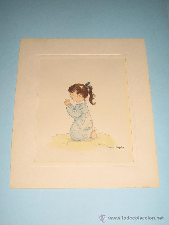 Arte: CINCO ACUARELAS INFANTILES FIRMADO MARIAANGELES, ORIGINALES, AÑOS 50-60 - Foto 19 - 32830938