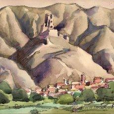 Arte: ACUARELA ANTIGUA MANUEL NAVARRO LÓPEZ.CASTILLO DE CADRETE.. Lote 32926501
