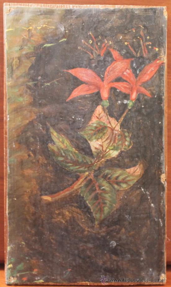 ANTIGUO LIENZO PEGADO SOBRE MADERA (Arte - Acuarelas - Modernas siglo XIX)