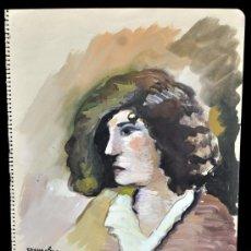 Arte: JOAN COMMELERAN I CARRERA (BARCELONA, 1902 - 1992) GOUACHE SOBRE CARTULINA DEL AÑO 1931. RETRATO. Lote 33235674