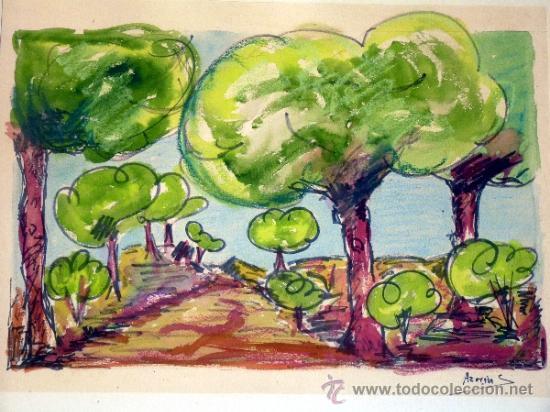 Arte: ACUARELA FIRMADA AZORÍN.trazo muy seguro.con maestria. - Foto 2 - 33390532