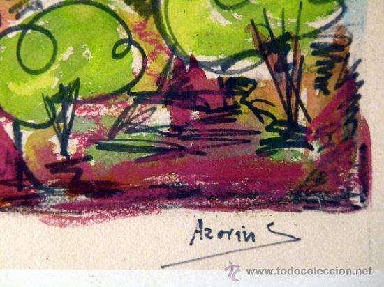 Arte: ACUARELA FIRMADA AZORÍN.trazo muy seguro.con maestria. - Foto 3 - 33390532