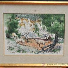 Arte: JERRY SKELLY (AMERICAN, 20TH C.) ACUARELA SOBRE PAPEL. PAISAJE CON ANIMALES. Lote 33509619