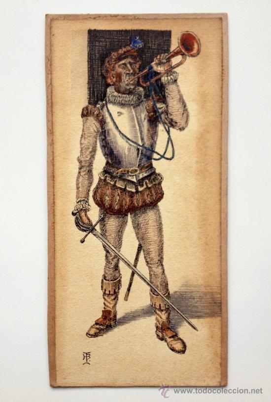 EXTRAORDINARIO RETRATO DE UN CABALLERO MÚSICO MEDIEVAL, FIRMADO, EXCELENTE CALIDAD Y DETALLISMO (Arte - Acuarelas - Modernas siglo XIX)