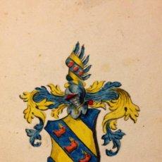 Arte: PRECIOSO ESCUDO DE ARMAS ORIGINAL DEL SIGLO XVIII, VIBRANTES COLORES, CALIDAD. Lote 33771733