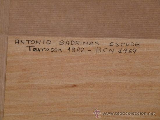 Arte: acuarela sobre papel.Antoni Badrinas Escudé. (Terrassa 1882-Barcelona 1969) - Foto 6 - 33909942