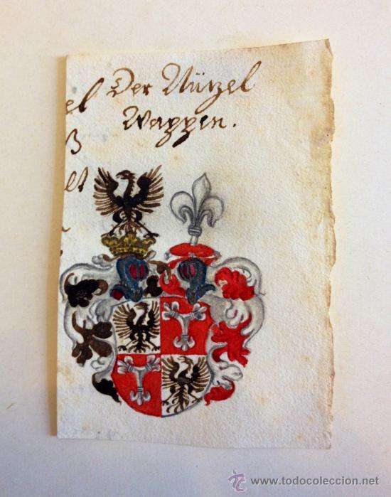 PRECIOSO ESCUDO DE ARMAS DE FINALES DEL SIGLO XVII- PRINCIPIOS DEL XVIII, ESCUELA ALEMANA (Arte - Acuarelas - Antiguas hasta el siglo XVIII)