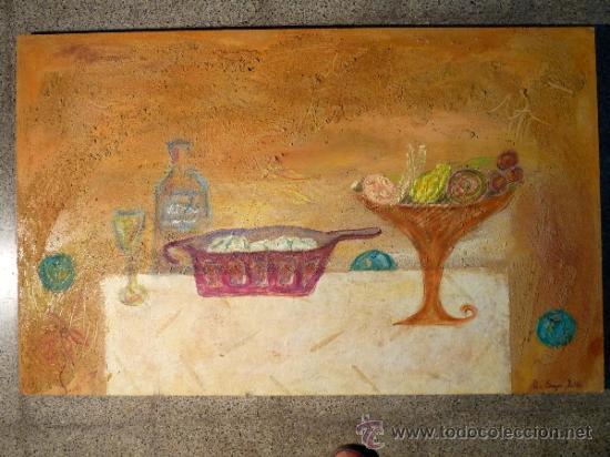 TÉNICA MIXTA SOBRE TABLA DE LA PINTORA CATALANA PAZ SAGUE BATLLÓ.CON DEDICACIÓN EN LA PARTE DE ATRÁS (Arte - Acuarelas - Modernas siglo XIX)