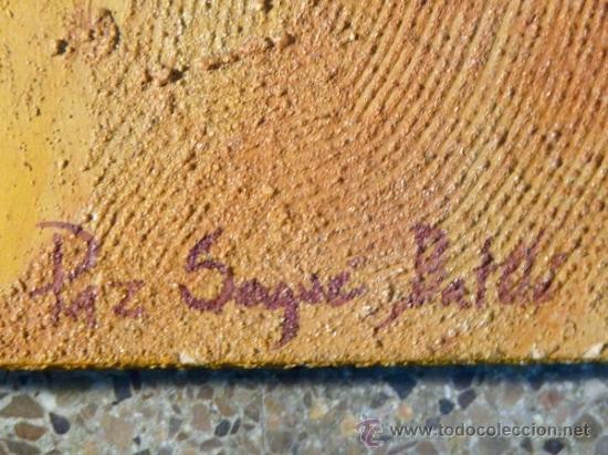 Arte: Ténica mixta sobre tabla de la pintora catalana Paz Sague Batlló.Con dedicación en la parte de atrás - Foto 6 - 34255026