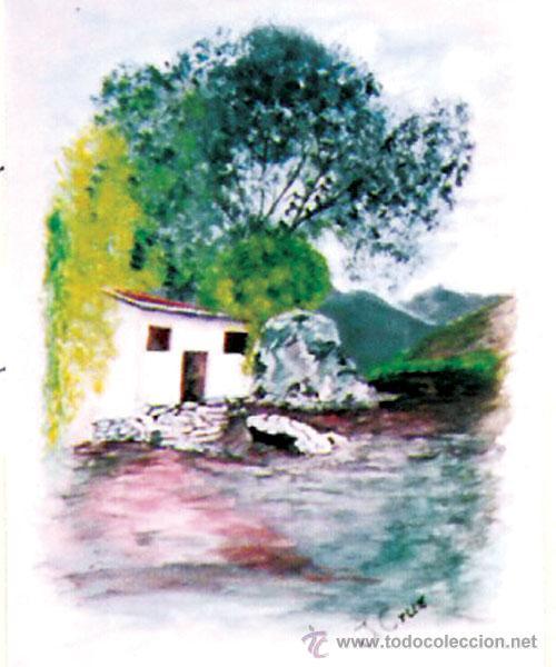 J, CRUZ.- (MALAGUEÑO) - PAISAJE - ACUARELA SOBRE PAPEL. FIRMADO ANGULO INF. ENMARCADO.46 X 33 CMS (Arte - Acuarelas - Contemporáneas siglo XX)