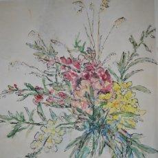 Arte: INTERESANTE JARRON CON FLORES - ACUARELA FIRMADA EN MONOGRAMA Y DATADA EN 1953. Lote 34353018