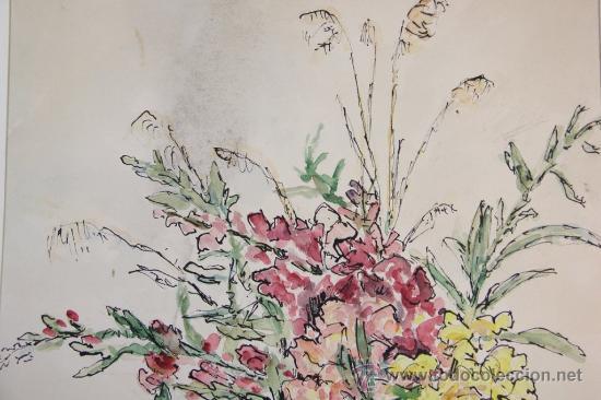 Arte: INTERESANTE JARRON CON FLORES - ACUARELA FIRMADA EN MONOGRAMA Y DATADA EN 1953 - Foto 2 - 34353018