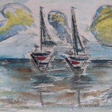 Arte: BONITA MARINA, ACUARELA Y PASTEL. FIRMADO. Lote 34362074