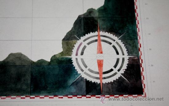 Arte: ACUARELA DE CARLOS SAENZ DE TEJADA-MAPA DE ANDALUCIA INNACABADO - Foto 3 - 34422962