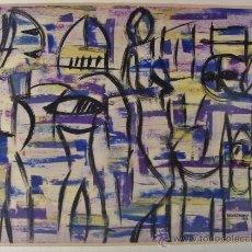 Arte: FIGURAS. ACUARELA Y ÓLEO SOBRE PAPEL. FIRMADO Y FECHADO. ABDELKADER BENKEMOUN.. Lote 34422242