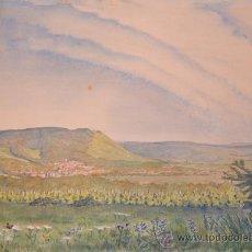 Arte: PRECIOSA ACUARELA FIRMADA Y DATADA EN 1948 - PAISAJE. Lote 34505144