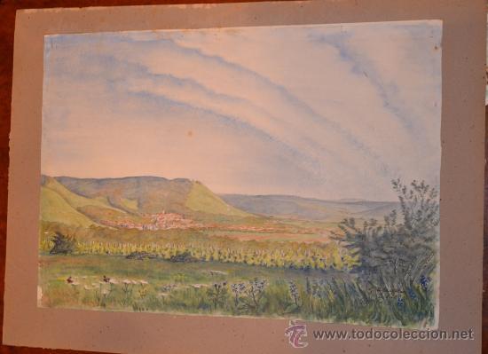 Arte: PRECIOSA ACUARELA FIRMADA Y DATADA EN 1948 - PAISAJE - Foto 3 - 34505144