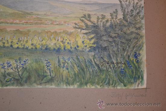 Arte: PRECIOSA ACUARELA FIRMADA Y DATADA EN 1948 - PAISAJE - Foto 4 - 34505144