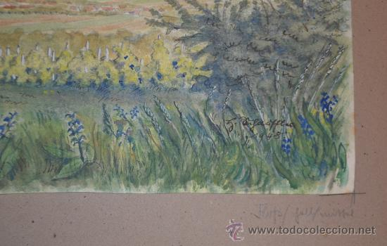 Arte: PRECIOSA ACUARELA FIRMADA Y DATADA EN 1948 - PAISAJE - Foto 5 - 34505144