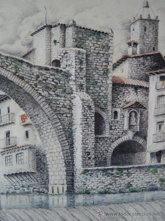Arte: Bravo, acuarela, vistas de Camprodon (Girona) Mediados del siglo XX - Foto 2 - 34728903