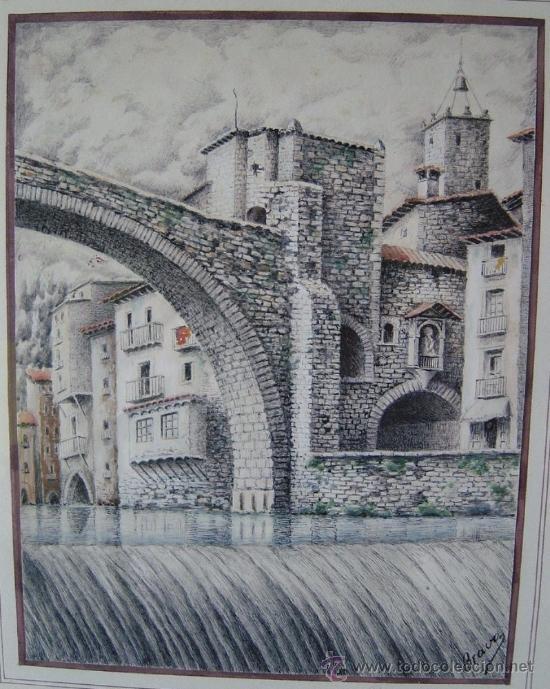 Arte: Bravo, acuarela, vistas de Camprodon (Girona) Mediados del siglo XX - Foto 3 - 34728903