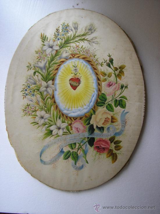 ANITA ARMENGOL Y BAXERAS MM ESCOLAPIAS DE VENDRELL 1890 - PINTADO SOBRE SEDA (Arte - Acuarelas - Antiguas hasta el siglo XVIII)