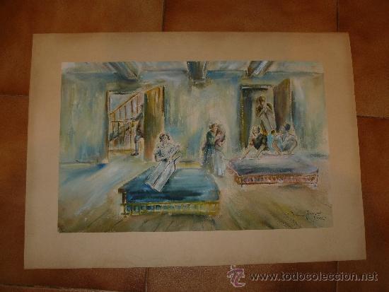 ACUARELA-FIRMA ILEGIBLE - PERSONAJES (Arte - Acuarelas - Contemporáneas siglo XX)