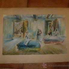 Arte: ACUARELA-FIRMA ILEGIBLE - PERSONAJES. Lote 34973745