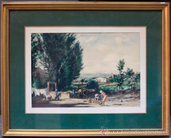 JOAN COLOM (ARENYS DE MAR, 1879-1969) CASTELL D'ARO, 1942. ACUARELA ENMARCADA 40X50CM. MARCO: 75X61 (Arte - Acuarelas - Contemporáneas siglo XX)