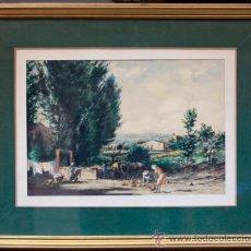 Arte: JOAN COLOM (ARENYS DE MAR, 1879-1969) CASTELL D'ARO, 1942. ACUARELA ENMARCADA 40X50CM. MARCO: 75X61. Lote 35170446