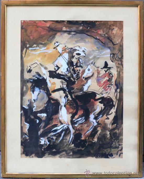 José Miguel Serrano (Barcelona, 1912-1982). Bailarinas. Acuarela 58x46 cm. Marco:49x61cm segunda mano