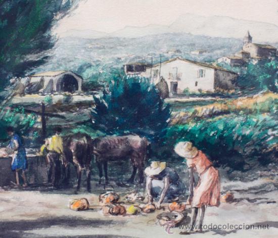 Arte: Joan Colom (Arenys de Mar, 1879-1969) Castell daro, 1942. Acuarela enmarcada 40x50cm. marco: 75x61 - Foto 3 - 35170446