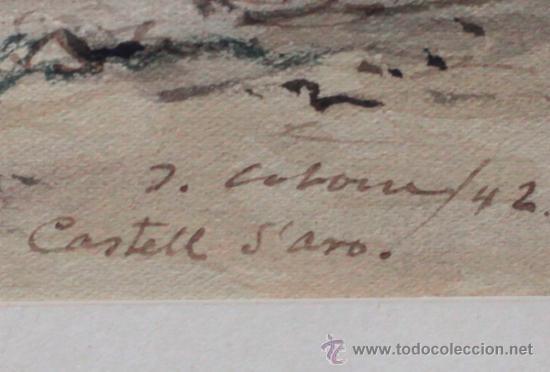 Arte: Joan Colom (Arenys de Mar, 1879-1969) Castell daro, 1942. Acuarela enmarcada 40x50cm. marco: 75x61 - Foto 2 - 35170446